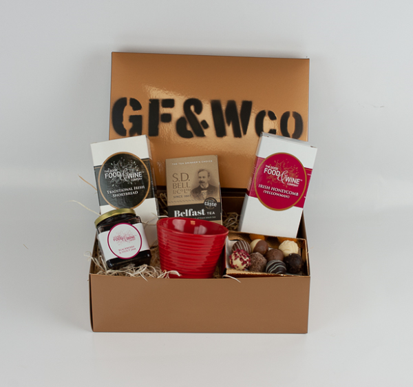Good Food and Wine Company Titanic Afternoon Tea Hamper in a Wooden Gold Shiny Box