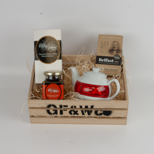 Good Food and Wine Company Titanic Tea and Toast Hamper in a Wooden Crate