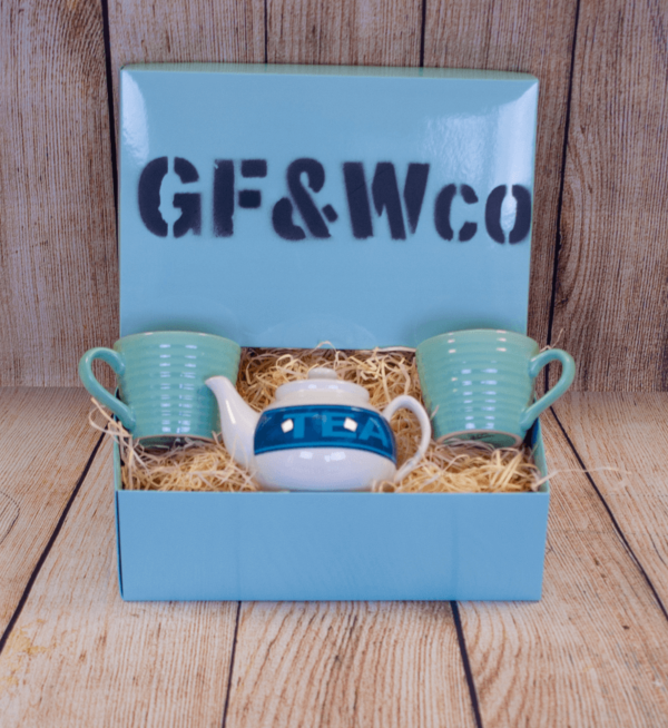 Blue ceramic teapot and mug gift set by The Good Food and Wine Company
