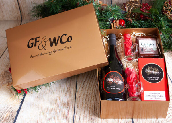 Christmas Gift Hamper Box containing Port, Cheese Crackers and Toddy Glasses