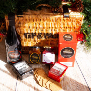 Wicker Christmas Hamper with Cheese, Chutney and Port