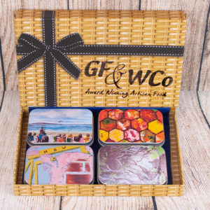 Closed Tins of Chocolates with Northern Ireland Painting in Artisan Chocolate Hamper