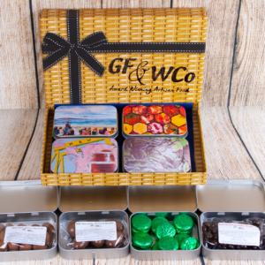 Open Tins of Chocolate with Northern Ireland Painting in Artisan Chocolate Hamper